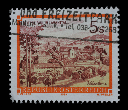 abbeys: Stamp printed in Austria shows St. Pauls Abbey in the Lavanttal, Karintien, from the series Monasteries and Abbeys in Austria, circa 1984