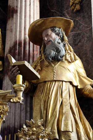 mystic place: Saint Jerome on the main altar of parish Church of the Immaculate Conception of the Virgin Mary in Lepoglava, Croatia Editorial