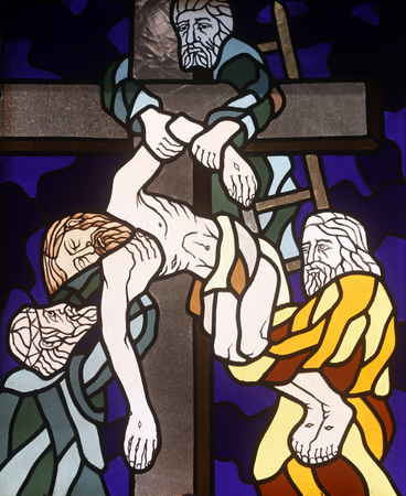 13th Stations of the Cross, Jesus' body is removed from the cross, stained-glass window in the church of St. John the Baptist in Rijeka, Croatia