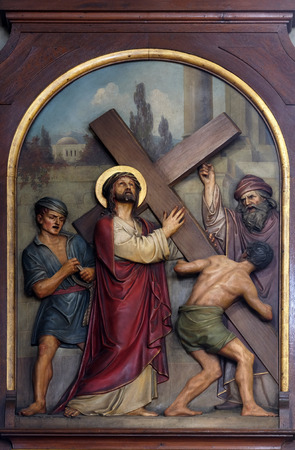 2nd Stations of the Cross, Jesus is given his cross, Basilica of the Sacred Heart of Jesus in Zagreb, Croatia