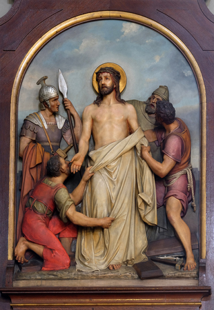 10th Stations of the Cross, Jesus is stripped of His garments, Basilica of the Sacred Heart of Jesus in Zagreb, Croatia Stock Photo