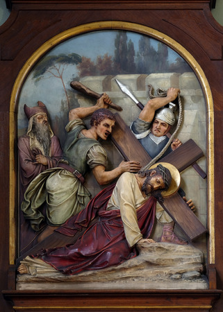 and sacred: 7th Stations of the Cross, Jesus falls the second time, Basilica of the Sacred Heart of Jesus in Zagreb, Croatia