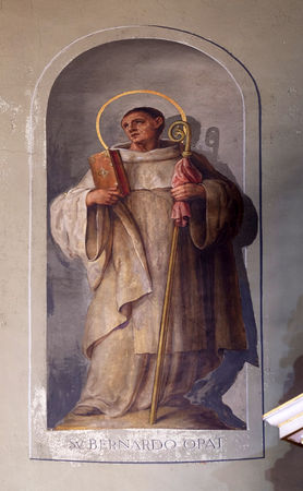 sacred heart: Saint Bernard of Clairvaux, fresco in the Basilica of the Sacred Heart of Jesus in Zagreb, Croatia Stock Photo