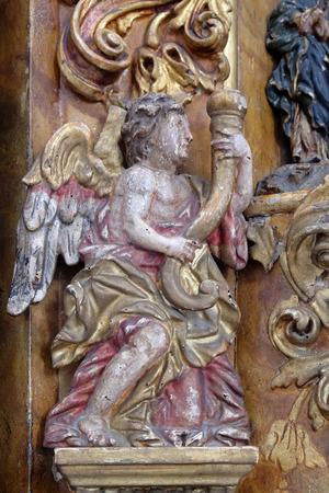 leonard: Angel, main altar in the church of Saint Leonard of Noblac in Kotari, Croatia Stock Photo