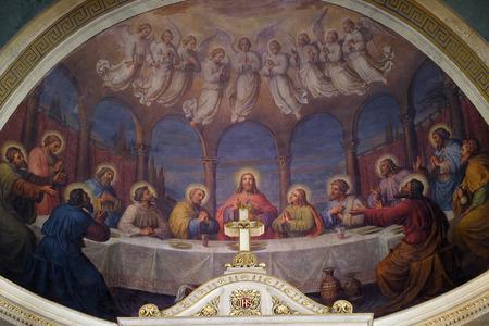 Last supper, fresco in the Basilica of the Sacred Heart of Jesus in Zagreb, Croatia Stock Photo