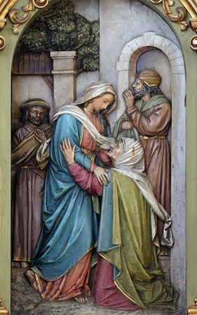 altarpiece: Visitation of the Virgin Mary, altarpiece in the Basilica of the Sacred Heart of Jesus in Zagreb, Croatia Stock Photo