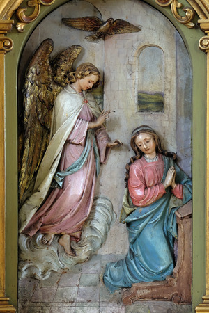 annunciation of mary: Annunciation of the Virgin Mary, altarpiece in the Basilica of the Sacred Heart of Jesus in Zagreb, Croatia
