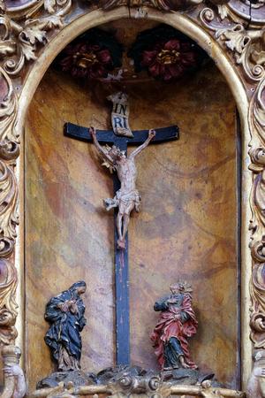 leonard: Virgin Mary and Saint John under the cross, main altar in the church of Saint Leonard of Noblac in Kotari, Croatia