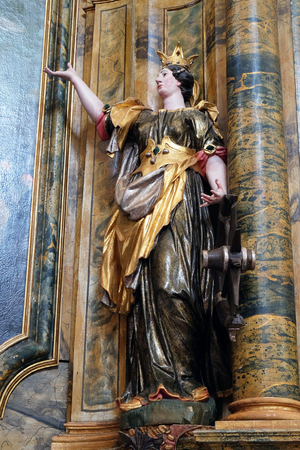 leonard: Statue of Saint Catherine of Alexandria on the Saint Mary altar in the church of Saint Leonard of Noblac in Kotari, Croatia