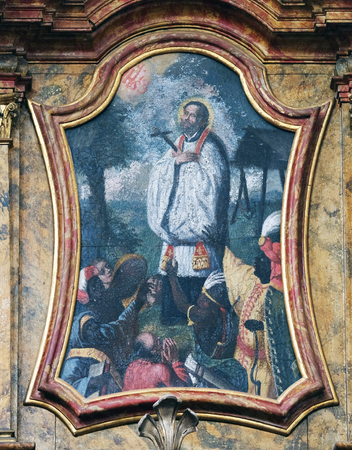 leonard: Saint Francis Xavier on the Saint Anthony altar in the church of Saint Leonard of Noblac in Kotari, Croatia
