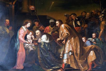 Scène de la Nativité, l'Adoration des Mages, Chapelle dans la chartreuse Pleterje, Slovénie