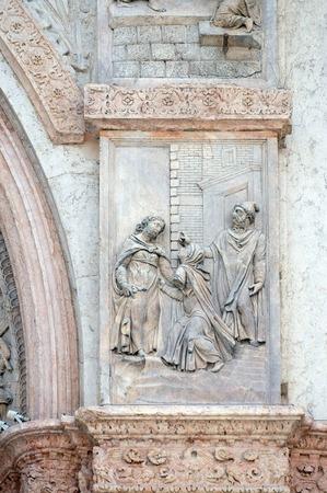 san giacomo: Visitation of the Virgin Mary by Giacomo Scilla, left door of San Petronio Basilica in Bologna, Italy