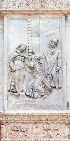 visitation: Visitation of the Virgin Mary by Giacomo Scilla, left door of San Petronio Basilica in Bologna, Italy