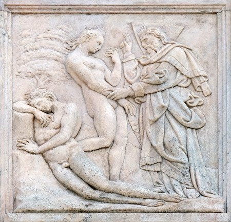 genesis: Creation of  Eve, Genesis relief on portal of Saint Petronius Basilica in Bologna, Italy Stock Photo