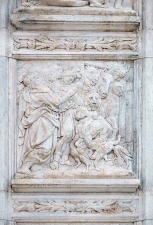 exits: The Noah exits the ark, relief on portal of Saint Petronius Basilica in Bologna, Italy Stock Photo