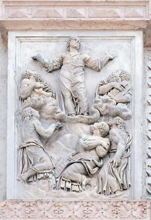 san giacomo: Transfiguration of the Lord by Giacomo Scilla, right door of San Petronio Basilica in Bologna, Italy