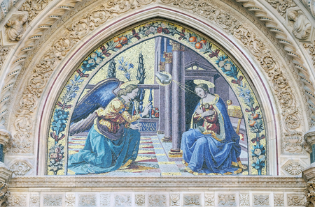 annunciation of mary: Mosaic at the lunette depicting Annunciation by Ghirlandaio brothers, Mandorla Gate, Portal of Cattedrale di Santa Maria del Fiore (Cathedral of Saint Mary of the Flower), Florence, Italy