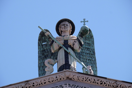 michael the archangel: Saint Michael on the top of the San Michele in Foro Church in Lucca, Italy