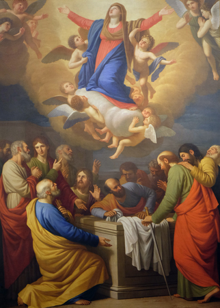 assumption: Altarpiece depicting Assumption of the Virgin Mary, work by Stefano Tofanelliin Cathedral of St.Martin in Lucca, Italy Stock Photo