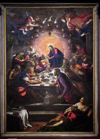 Altarpiece depicting the Last Supper by Tintoretto in Cathedral of St.Martin in Lucca, Italy