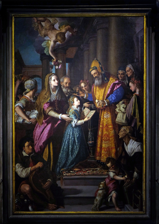 altarpiece: Altarpiece depicting Presentation of Mary to the temple, work by Alessandro Allori in Cathedral of St.Martin in Lucca, Italy