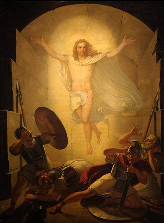 Altaarstuk Verrijzenis van Christus, werk van Michele Ridolfi in de kathedraal van St. Martin in Lucca, Italië Stockfoto