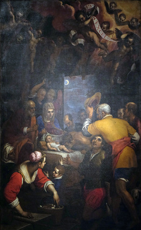 altarpiece: Altarpiece depicting Adoration of the Shepherds, work by Domenico Cresti in Cathedral of St.Martin in Lucca, Italy