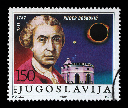 mathematician: Stamp printed in Yugoslavia shows The 200th Anniversary of the Birth of Ruder Josip Boskovic(1711-1787), Ragusan physicist, astronomer, mathematician, philosopher, diplomat, poet, theologian, Jesuit priest, circa 1987. Editorial