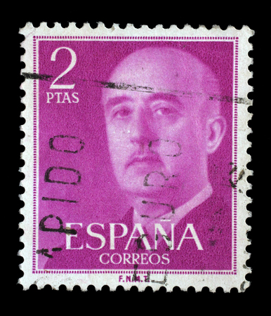 Stamp printed in Spain shows a portrait of Francisco Franco, circa 1955.