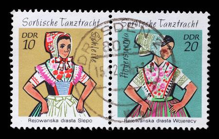 gdr: Stamp printed in GDR shows Sorbian Dance Costume, Hoyerswerda, circa 1971