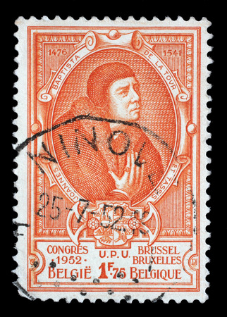 botanist: A stamp printed in Belgium shows Jean Baptiste Leschenault de la Tour - French botanist and ornithologist, circa 1952