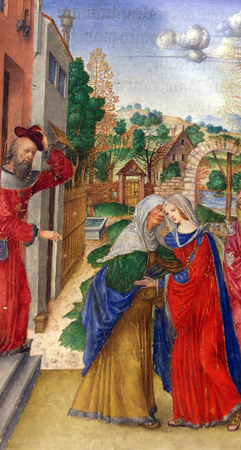 visitation: Matteo da Milano: miniatures from the breviary of Alfonso I dEste: Visitation of the Virgin Mary, Old Masters Collection, Croatian Academy of Sciences, December 08, 2014 in Zagreb, Croatia Editorial