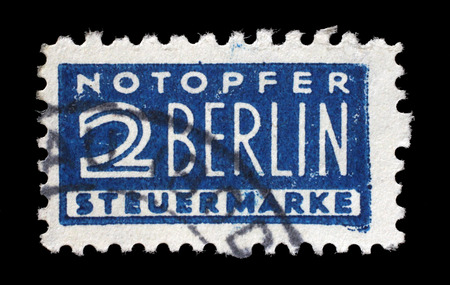 favor: Postal tax stamp printed in Germany in favor of West Berlin, circa 1948 - 1956 Editorial