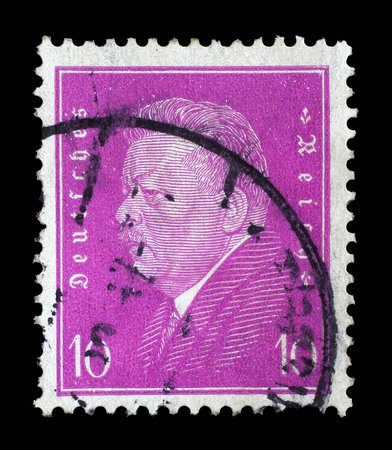 Reich: Stamp printed in the German Reich shows Friedrich Ebert (1871-1925), 1st President of the German Reich, circa 1928. Editorial