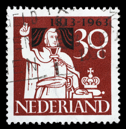 an oath: Stamp printed in the Netherlands shows Prince William Taking Oath of Allegiance, 150th Anniversary of the Kingdom of the Netherlands, circa 1963