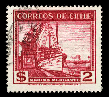 merchant: Stamp printed in Chile shows sailing ship merchant fleet, circa 1936