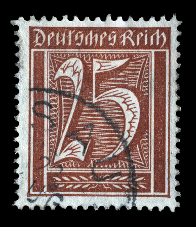 Reich: Stamp printed in Germany shows numeric value, circa 1921.