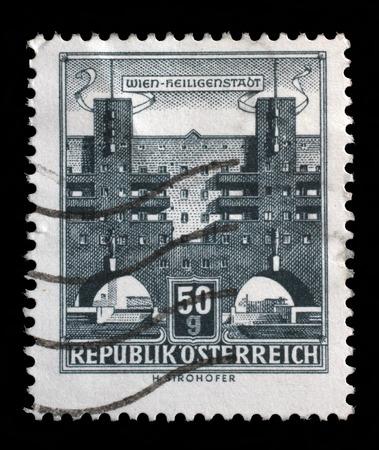 karl: Stamp printed in Austria shows Karl Marx Hof by Karl Ehn architect, at Heiligenstadt, Vienna, series, circa 1959