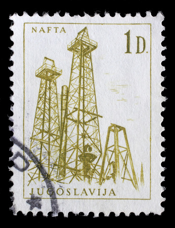 nafta: Stamp printed in Yugoslavia shows a Oil derricks, Nafta, with the same inscription, from series Industrial Progress circa 1966
