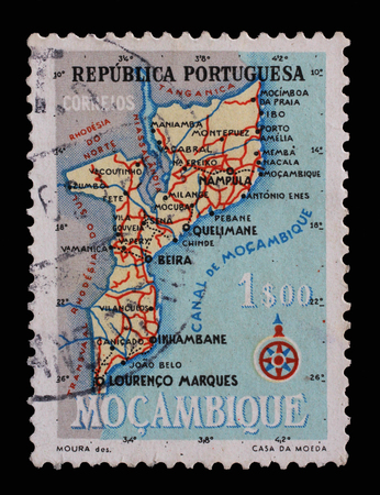 indian postal stamp: Stamp printed in Portugal shows map of Mocambique, series, circa 1954