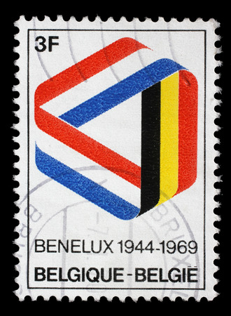 benelux: Stamp printed in the Belgium shows Mobius Strip in Benelux Colors, 25th Anniversary of the Signing of the Customs Union, circa 1969