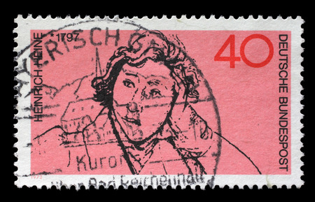 heinrich: Stamp printed in the Germany shows Heinrich Heine, Poet, circa 1972