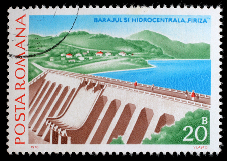 hydropower: Stamp from Romania shows image of Firiza Dam and Hydropower Station, circa 1978