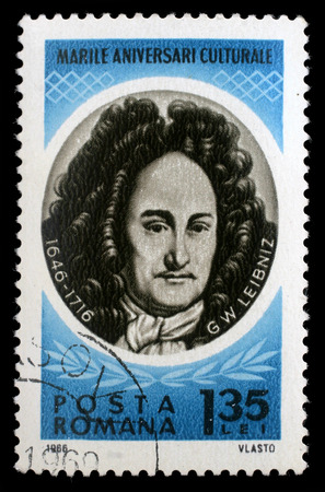 philosopher: Stamp printed in Romania shows Gottfried Wilhelm von Leibniz   German polymath, mathematician and philosopher, circa 1966.