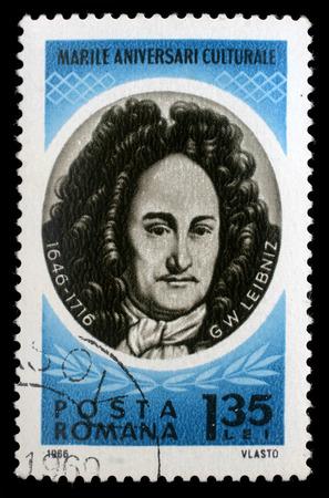 mathematician: Stamp printed in Romania shows Gottfried Wilhelm von Leibniz   German polymath, mathematician and philosopher, circa 1966.