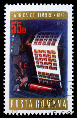 centenary: Stamp printed in Romania shows Multicolor printing press, Stamps Factory Centenary, circa 1972. Editorial