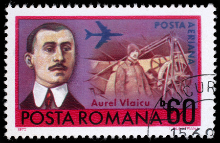 inventor: Stamp printed in Romania shows Aurel Vlaicu (1882-1913) Romanian engineer, inventor, airplane constructor and early pilot, circa 1972. Editorial