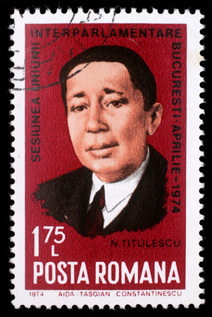 league of nations: Stamp printed in Romania shows Nicolae Titulescu (1882-1941) diplomat, government minister, finance and foreign minister, and for two terms President of the General Assembly of the League of Nations, circa 1972. Editorial