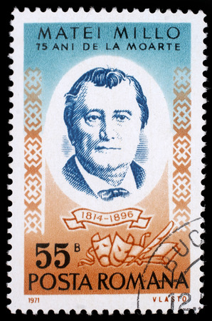 playwright: Stamp printed in Romania shows Matei Millo (1814-1896) Moldavian-born Romanian stage actor and playwright, circa 1971.
