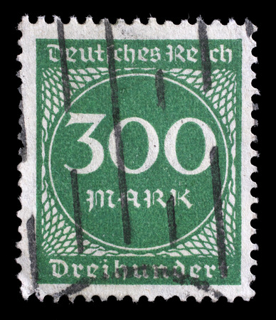 postmarked: Stamp printed in Germany shows numeric value, circa 1923. Editorial